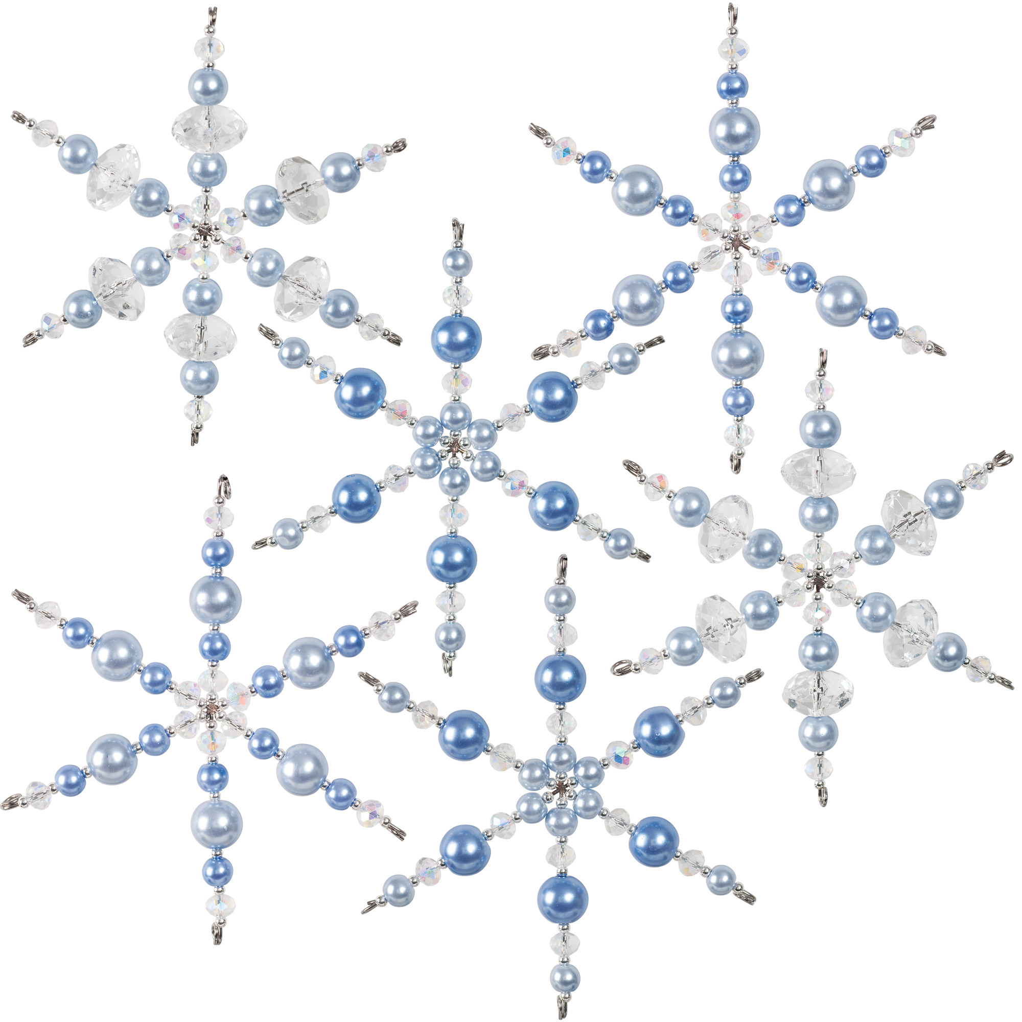 Nostalgic Christmas™ Beaded Crystal Ornaments Kit - Blue and Crystal Snowflakes