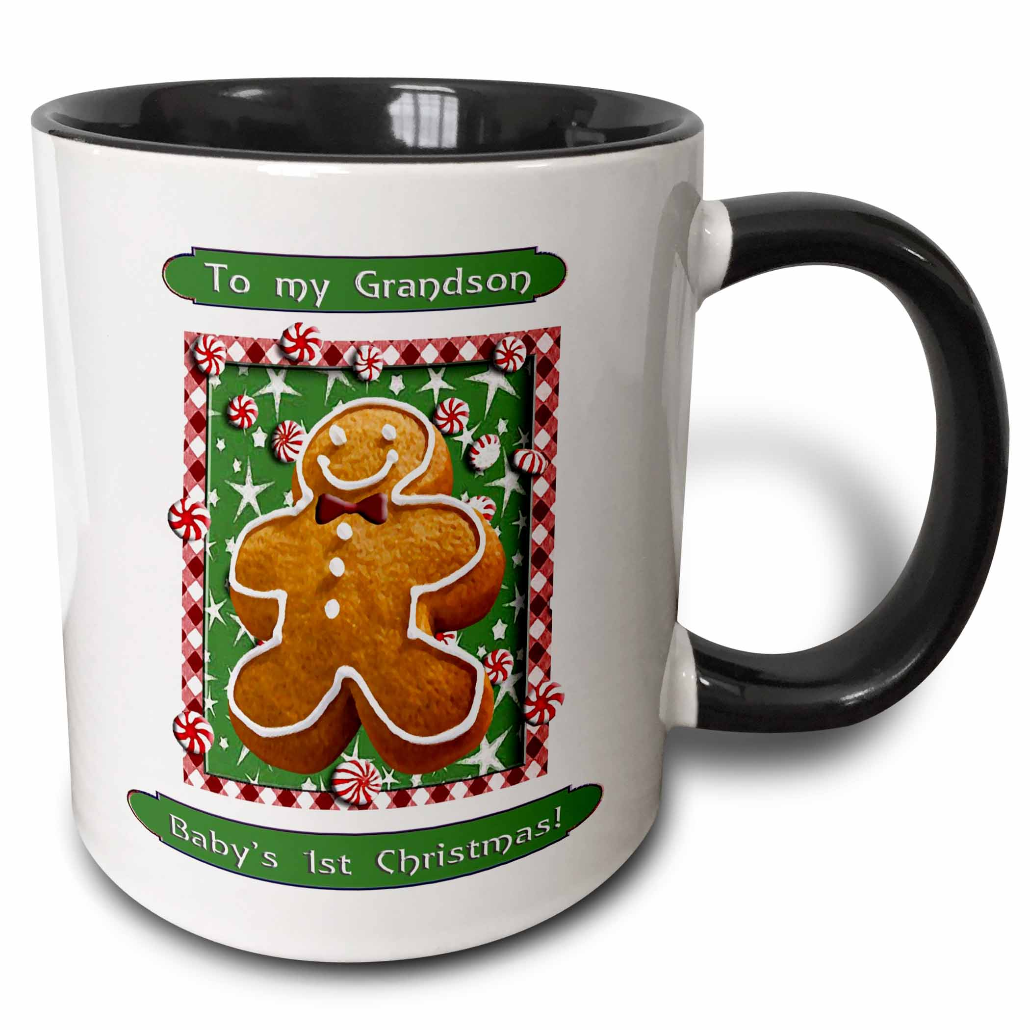3dRose Gingerbread Boy, Babys First Christmas, Grandson - Two Tone Black Mug, 11-ounce