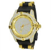 Gold Diver Bezel Fully Iced out Mens Black Silicone Band Watch