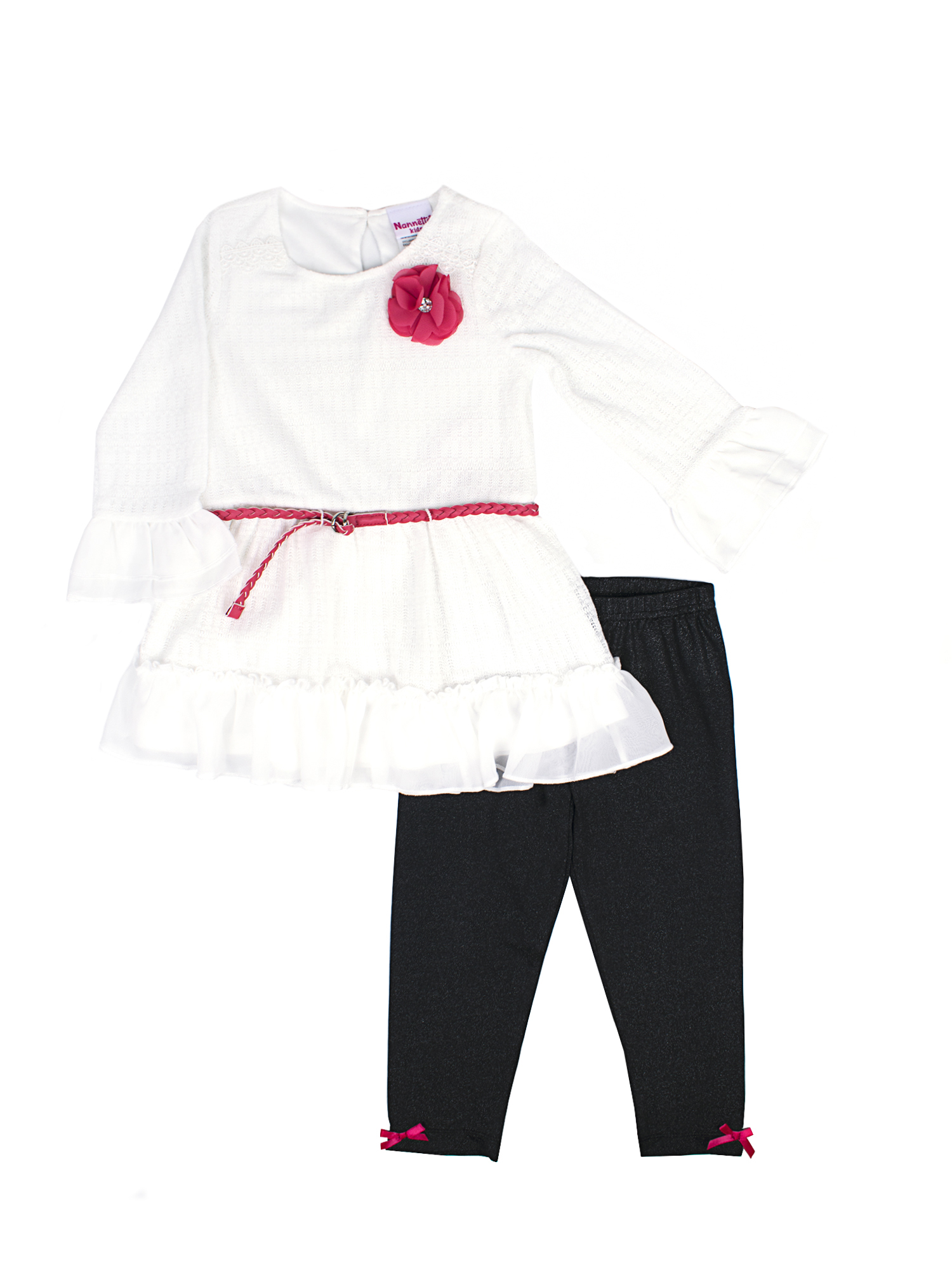 Novelty Lace Chiffon Top and Legging, 2-Piece Outfit Set with Braided Belt (Little Girls)