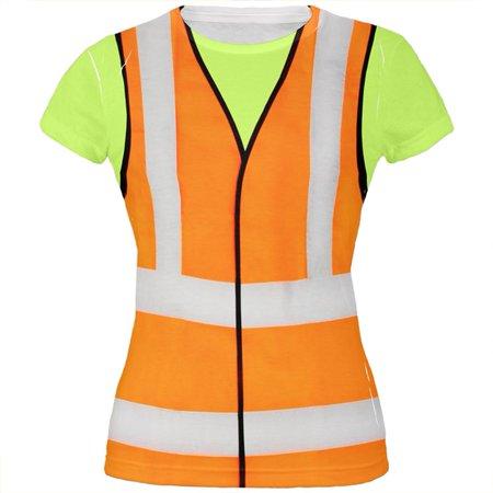 Construction Worker Halloween (Halloween Road Worker Construction Vest Costume All Over Juniors T)