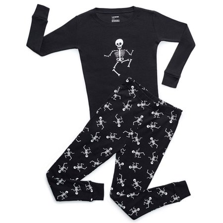 Leveret Black Skeleton 2 Piece Pajama Set 100% Cotton 5 Years