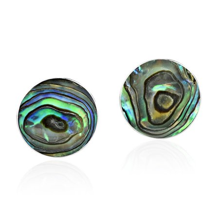 Round Shell Earrings - Green Abalone Shell Mystical Round .925 Sterling Silver Post Earrings