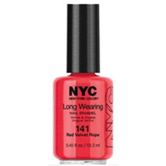 NYC New York Color Long Wearing Nail Enamel, 141 Red Velvet Rope ...