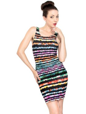 324f901b Product Image Women's Printed Sleeveless Fitted Bodycon Mini Dress, Stripe,  ...
