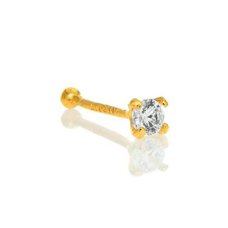 14K Solid Yellow Gold Nose Ring Bone CZ Prong Set - 0.5mm 24 Gauge 9mm Long