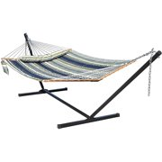 Jayli Hammock with Stands 2 Person Heavy Duty 450 Pounds Capacity with Bamboo Spreader Bar,Pad ,Pillow and Cup Holder Included for Outdoor Patio,Deck,Yard