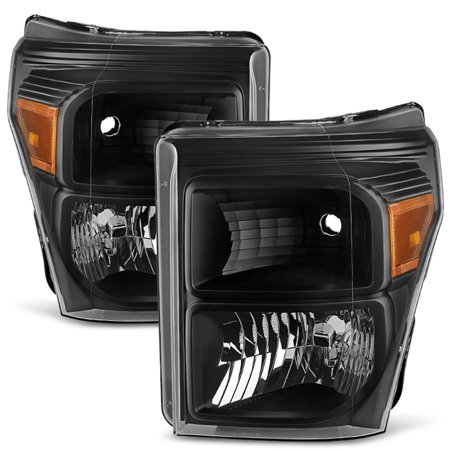 Fit 11-16 Ford F250 F350 F450 F550 Super Duty Pickup Black Headlight Replacement