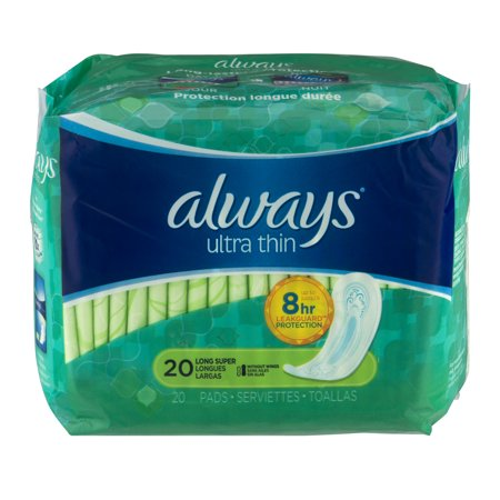 Always Ultra Thin Size 2 Long Super Pads without Wings 20 Count