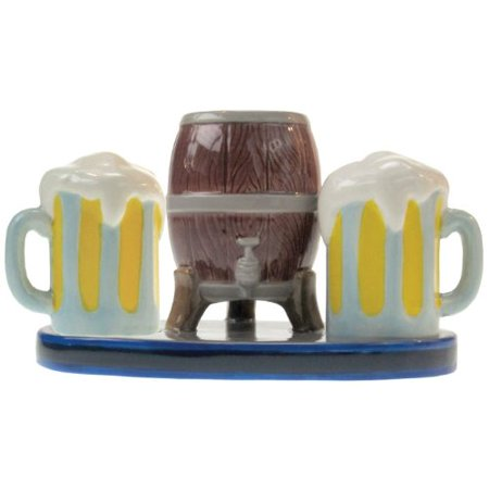 Westland Giftware Mwah Beer Keg And Mugs Magnetic Ceramic Salt And Pepper Shaker With Toothpick
