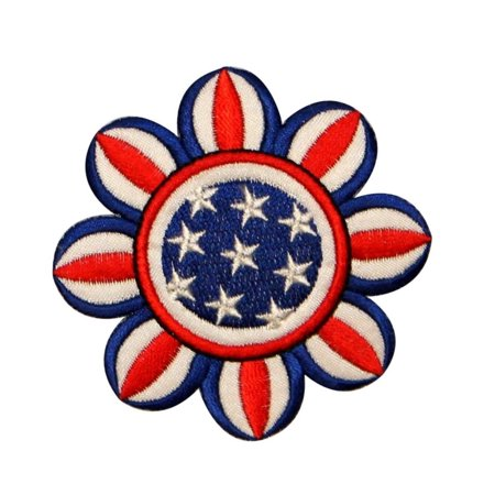 ID 1086Z American Flag Flower Patch Patriotic Daisy Embroidered Iron On (Applique Embroidered Flag)