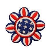 ID 1086Z American Flag Flower Patch Patriotic Daisy Embroidered Iron On Applique