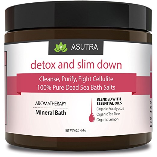DETOX & SLIM DOWN - 100% Pure Dead Sea Bath Salts / Cleanse, Purify & Fight Cellulite / Rich In Vital Healing Minerals / Organic Essential Oils of Eucalyptus, Tea Tree and Lemon - 16oz