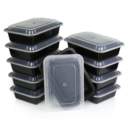 A World Of Deals Meal Containers - Stackable Plastic Microwavable Dishwasher Safe Reusable, 38 oz, 10 Piece of 10 Lids and Containers (Halloween Meal Deals)