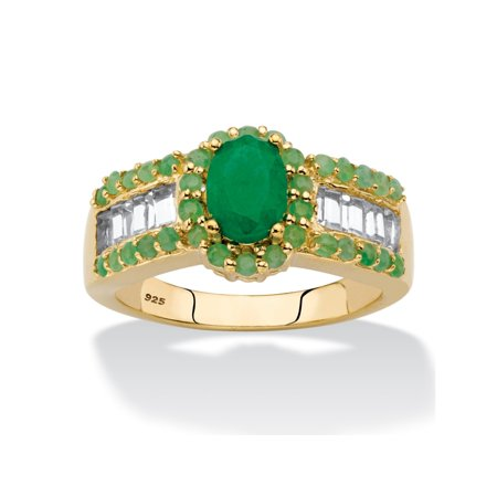 Oval-Cut Genuine Green Emerald and White Topaz Halo Ring 12.37 TCW in 14k Gold over Sterling Silver
