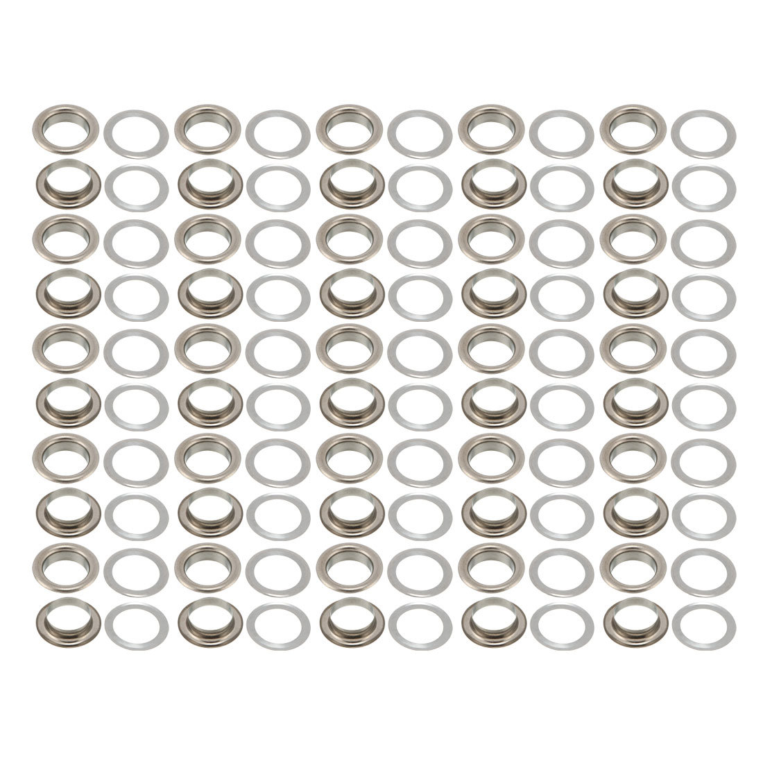 100Pcs 10mm Eyelet 15mm Flange Dia 4mm Height Brass Grommet Black w Washer