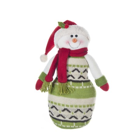 Santa Hat dressed Snowman Beanie Plush by Ganz - Mini Snowman Hats