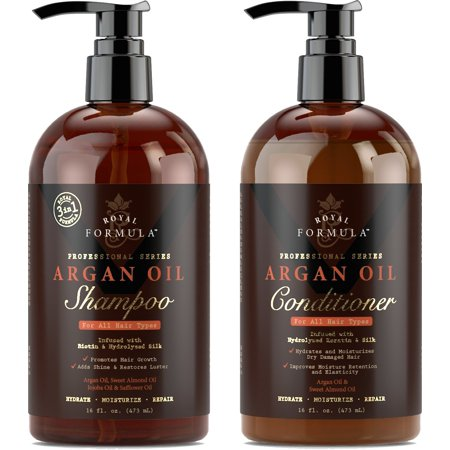 Royal Formula - Argan Oil Shampoo & Conditioner Set (Combo-Pack) - Sulfate, Paraben & Sodium - Free - For Dry, Damaged and Color-Treated Hair (2 x 16 Fl Oz / (Shampoo And Conditioner To Get Curly Hair)