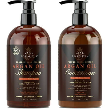 Royal Formula - Argan Oil Shampoo & Conditioner Set (Combo-Pack) - Sulfate, Paraben & Sodium - Free - For Dry, Damaged and Color-Treated Hair (2 x 16 Fl Oz /