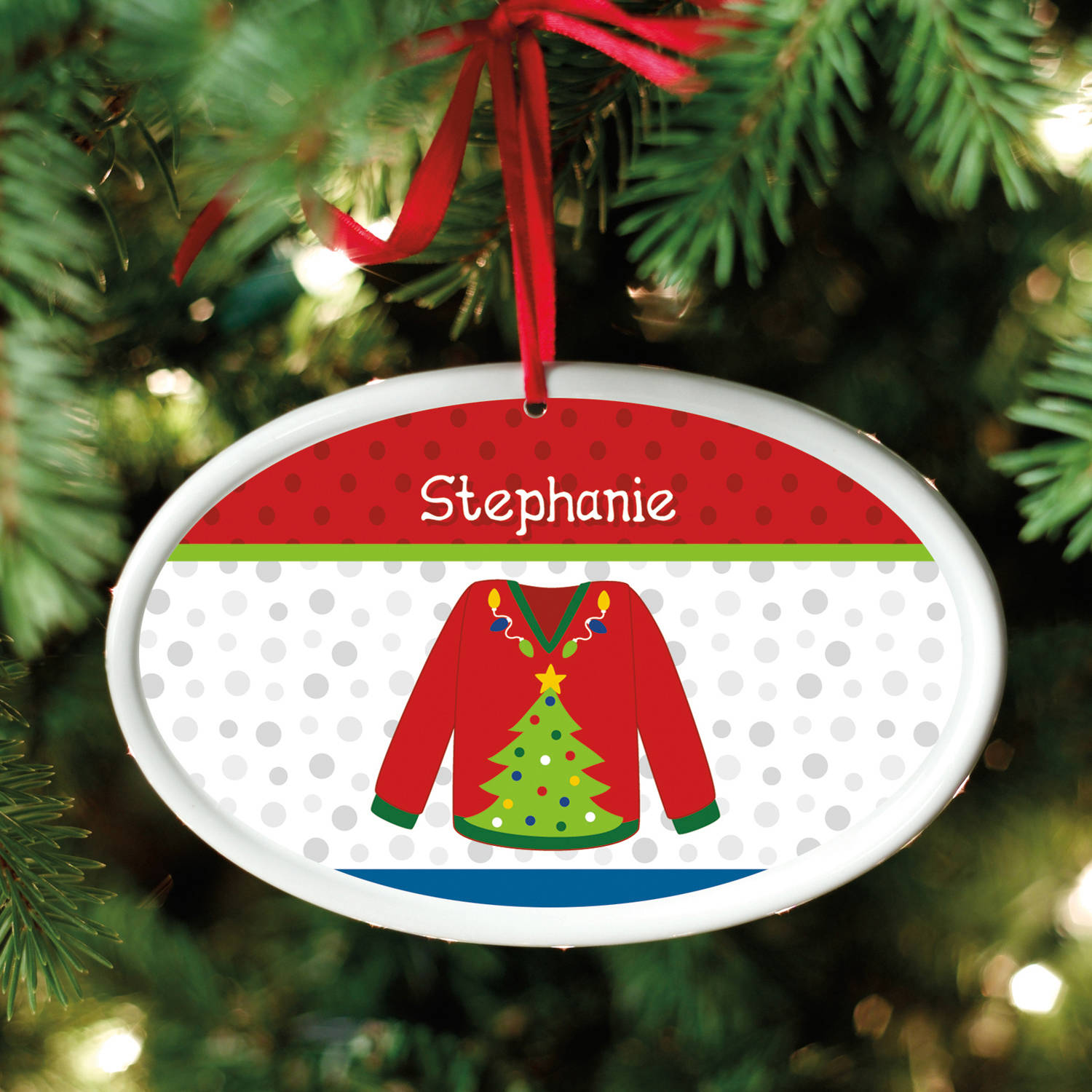 Personalized Ugly Christmas Sweater Oval Ornament, Available in 6 Designs