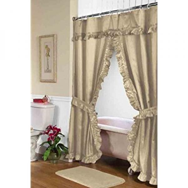 """Lauren"" Double Swag Shower Curtain, Linen"