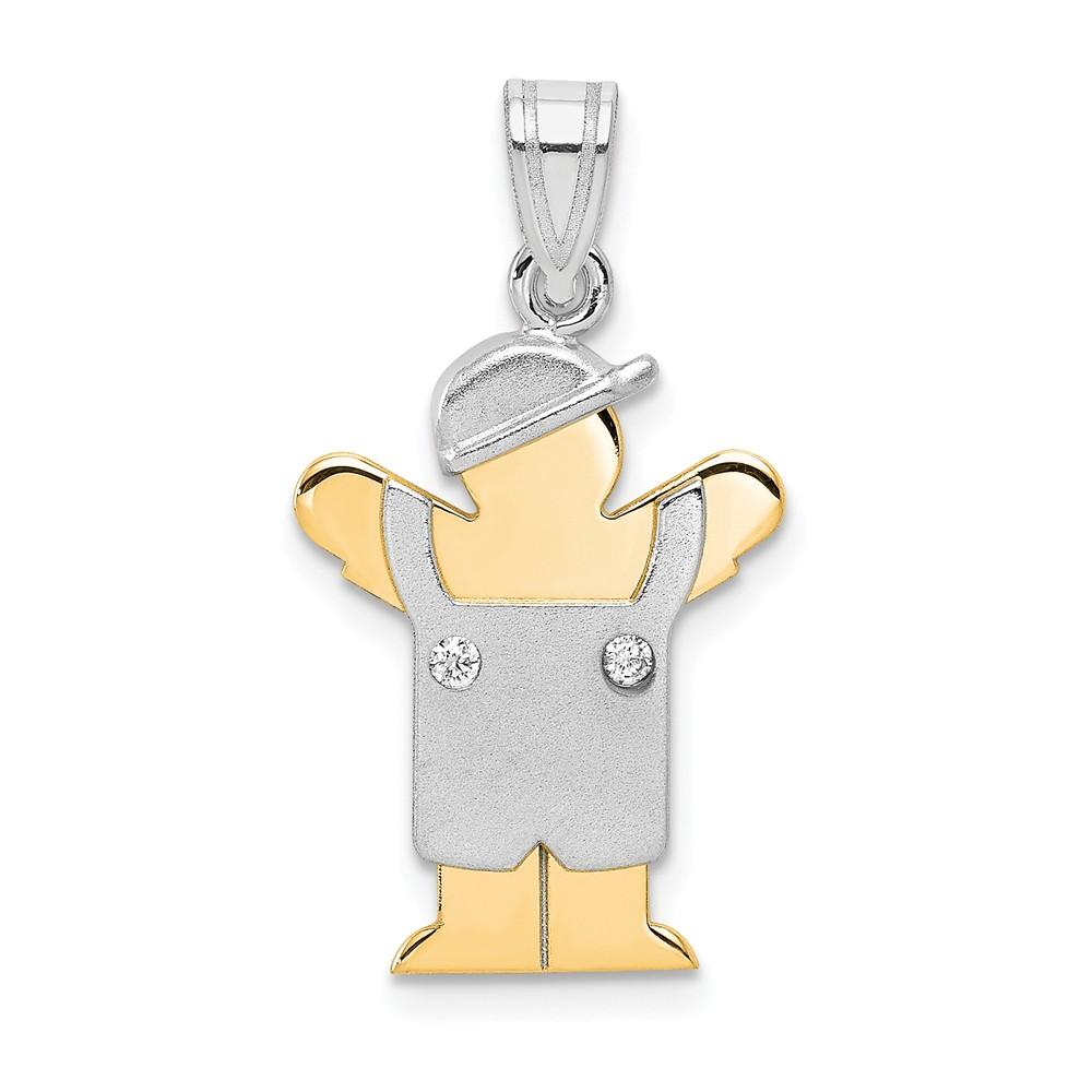 14k Two Tone Gold H-I SI2 Quality Diamond kid pendant. Carat Wt- 0.022ct