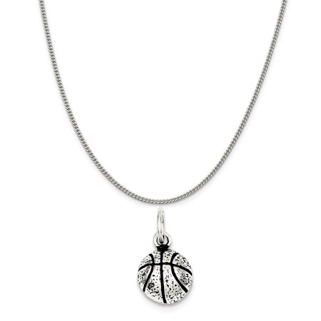 Sterling Silver Antiqued Basketball Charm on a Sterling Silver Curb Chain Necklace, 20