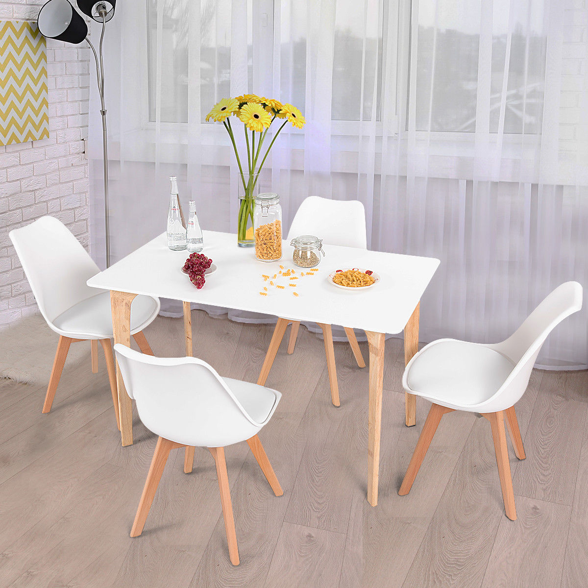 Costway 5 Piece Mid-Century Dining Room Set Rectangular Table and 4 Chairs Modern White by Costway