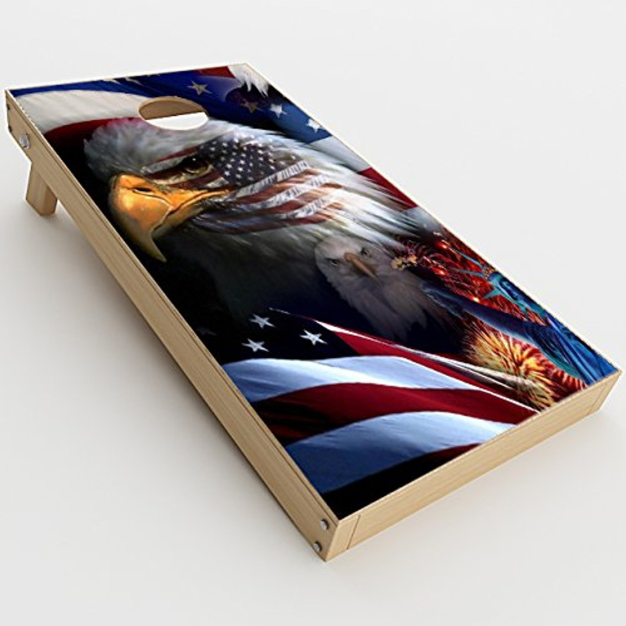Skin Decals Vinyl Wrap for Cornhole Game Board Bag Toss (2xpcs.)   USA Bald Eagle in Flag by