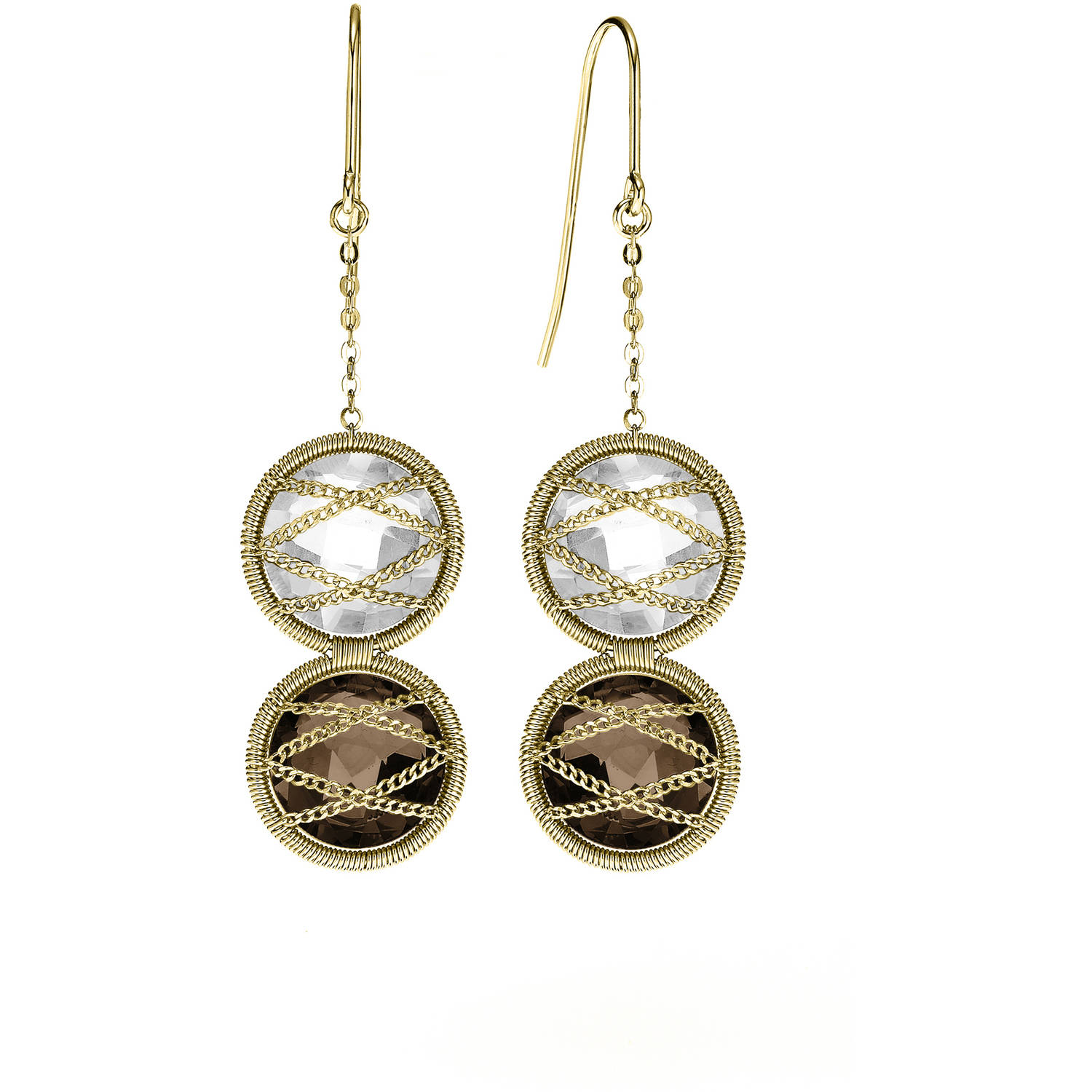Image of 5th & Main 18kt Gold over Sterling Silver Hand-Wrapped Double Smokey Quartz Stone Earrings