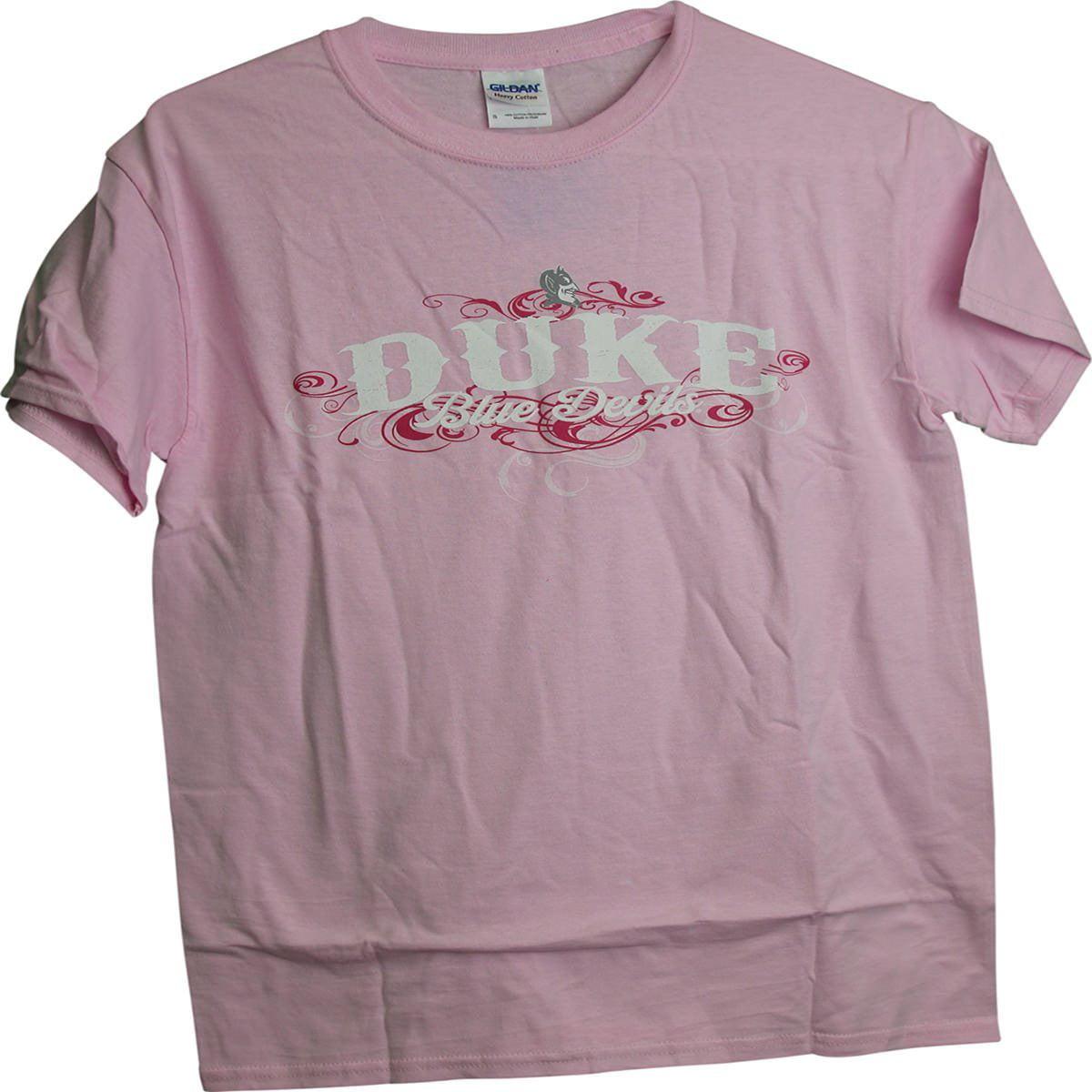 Duke Blue Devils Distressed name Tonal Mascot Ladies Women's Pink T-Shirt