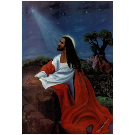 Black Jesus Christ Kneeling religious Print Poster - 13x19