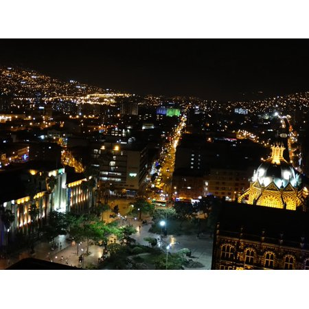 LAMINATED POSTER Night Vision Buildings Medellin Urban City Poster Print 24 x