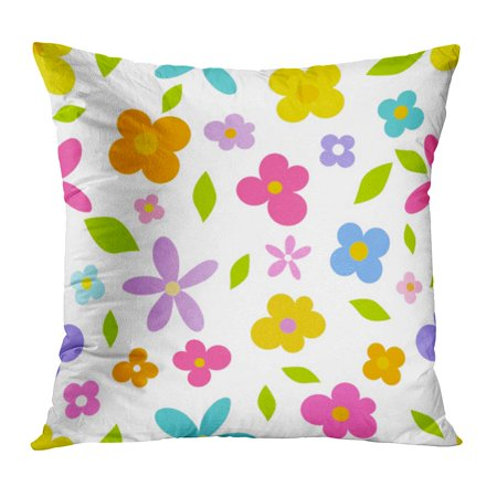 BOSDECO Colorful Simple Spring Flowers Pattern Blue Cute Cartoon Floral Summer Abstract PillowCase Pillow Cover 18x18 inch - image 1 of 1