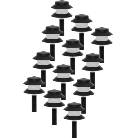 GreenLighting 35 Lumen Modern 2-Tier Low Voltage Path Light - Outdoor 2.5 Watt Landscape Light (12 Pack, Black) (Modern Path Light)