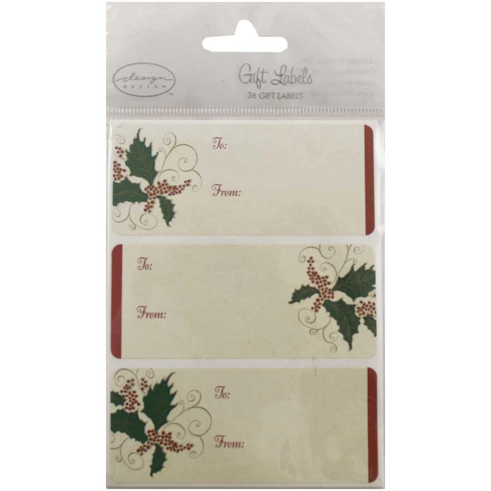 """JAM Paper, Gold Christmas Ornament Sticker Gift Tag Labels (4"""" x 3""""), 24 Labels per Pack"""