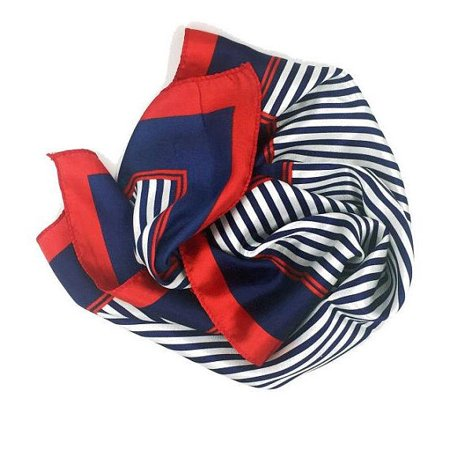 Small Square Satin Womens Neck Head Scarf Scarves -- Blue And Red (Neck Scarf)