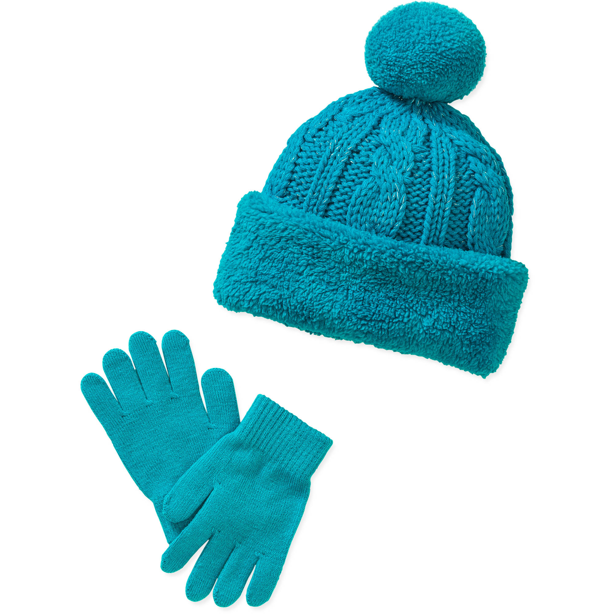 Faded Glory Girl's Cable Pom hat and Glove Set