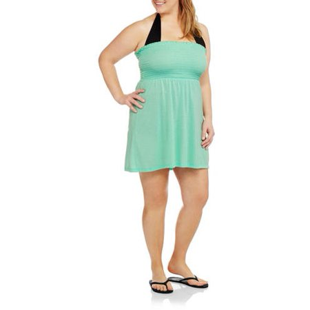 f87c51dfb9978 No Boundaries - Juniors  Plus-Size Smocked Bandeau Dress Swim Cover-Up -  Walmart.com