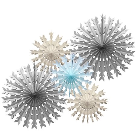 Devra Party 5-Piece Tissue Paper Snowflake Collection, 15 and 22 Inch, Stormy Skies (Gray, White, Light Blue)](Tissue Paper Snowflakes)