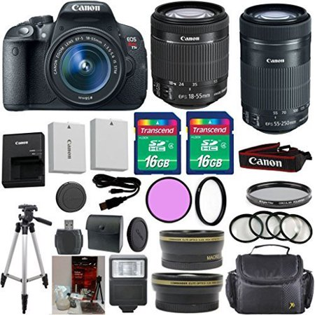 Canon Rebel T5i DSLR Camera Body with Canon 18-55mm IS STM Standard Lens 33rd Street Exclusive Bundle + Canon 55-250mm IS STM Zoom Lens + 16GB Class 10 SD Memory - Sti Standard
