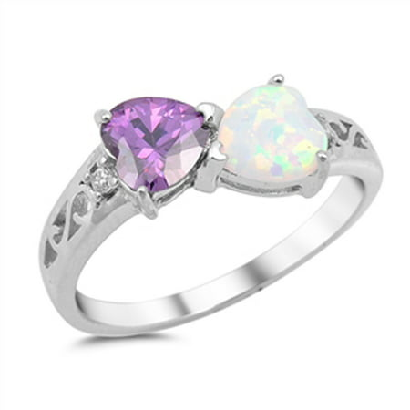 Sterling Silver Women's Flawless Simulated Amethyst Cubic Zirconia White Simulated Opal Filigree Heart Ring (Sizes 4-12) (Ring Size 11)