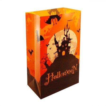 Halloween House Plastic Luminaria Bags, Set of 12
