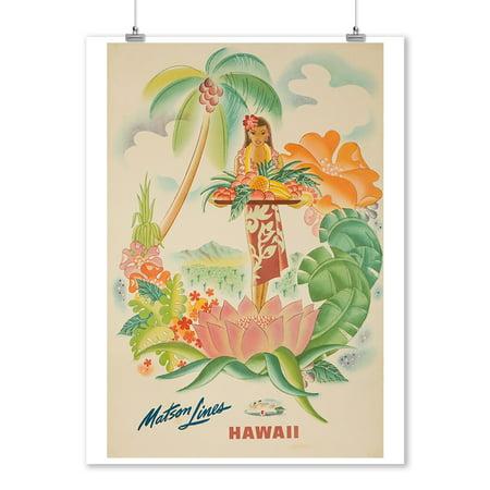 Matson Lines - Hawaii (b) Vintage Poster (artist: McIntosh) USA c. 1940 (9x12 Art Print, Wall Decor Travel Poster)
