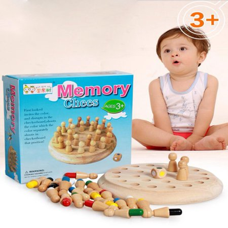 WALFRONT Wooden Memory Chess Game Preschool Educational Training Toy,Kids Game Memory Developing Montessori Materials Educational Preschool Training Brain IQ Toy