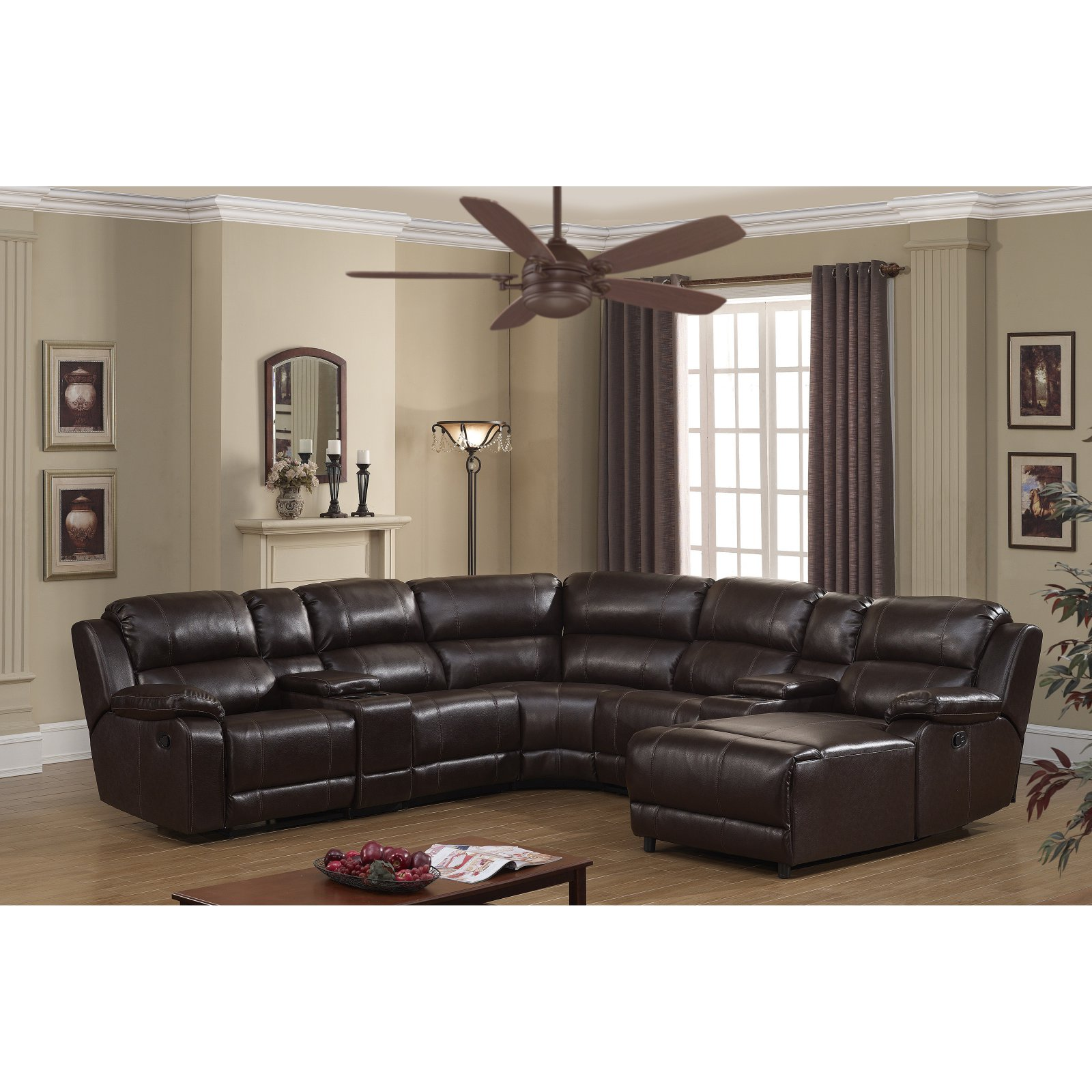 Christies Home Living 7 Piece Living Room Reclining Sectional Sofa