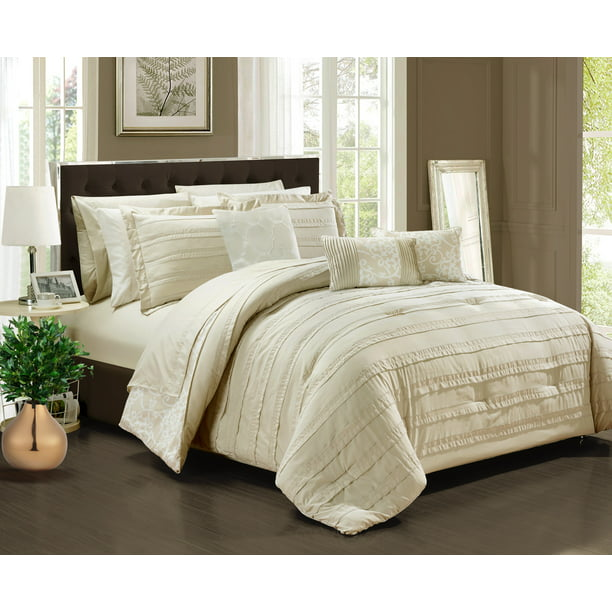 Chic Home 10 Piece Zarina Complete Ruffles And Reversible Printed King Bed In A Bag Comforter Set Beige Sheets Included Walmart Com