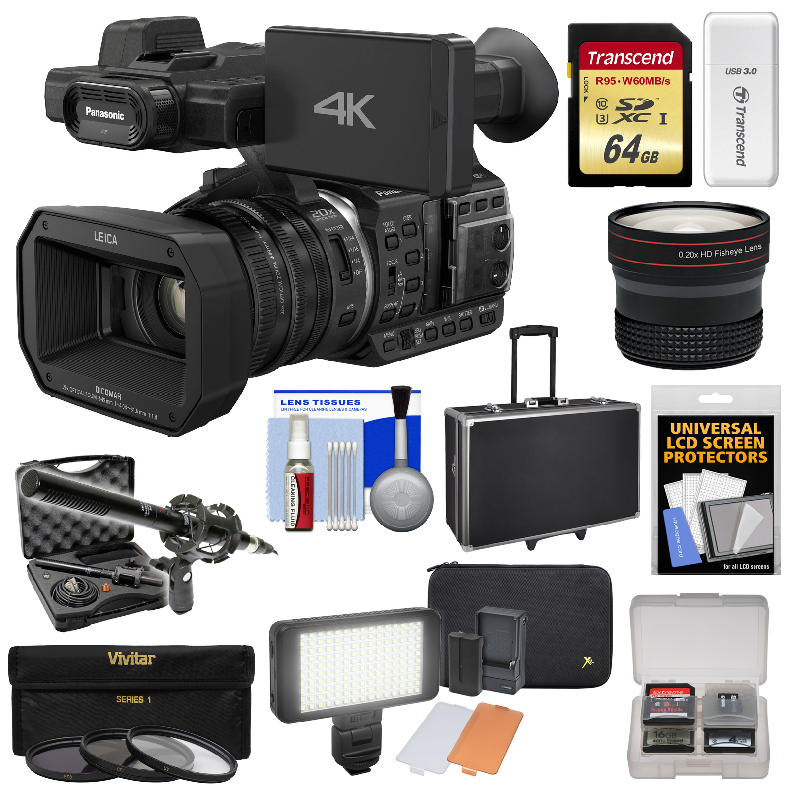 Panasonic HC-X1000 4K Ultra HD Wi-Fi Video Camera Camcorder with Fisheye Lens + 64GB Card + Case + LED Light Set + Microphone Set + Accessory Kit