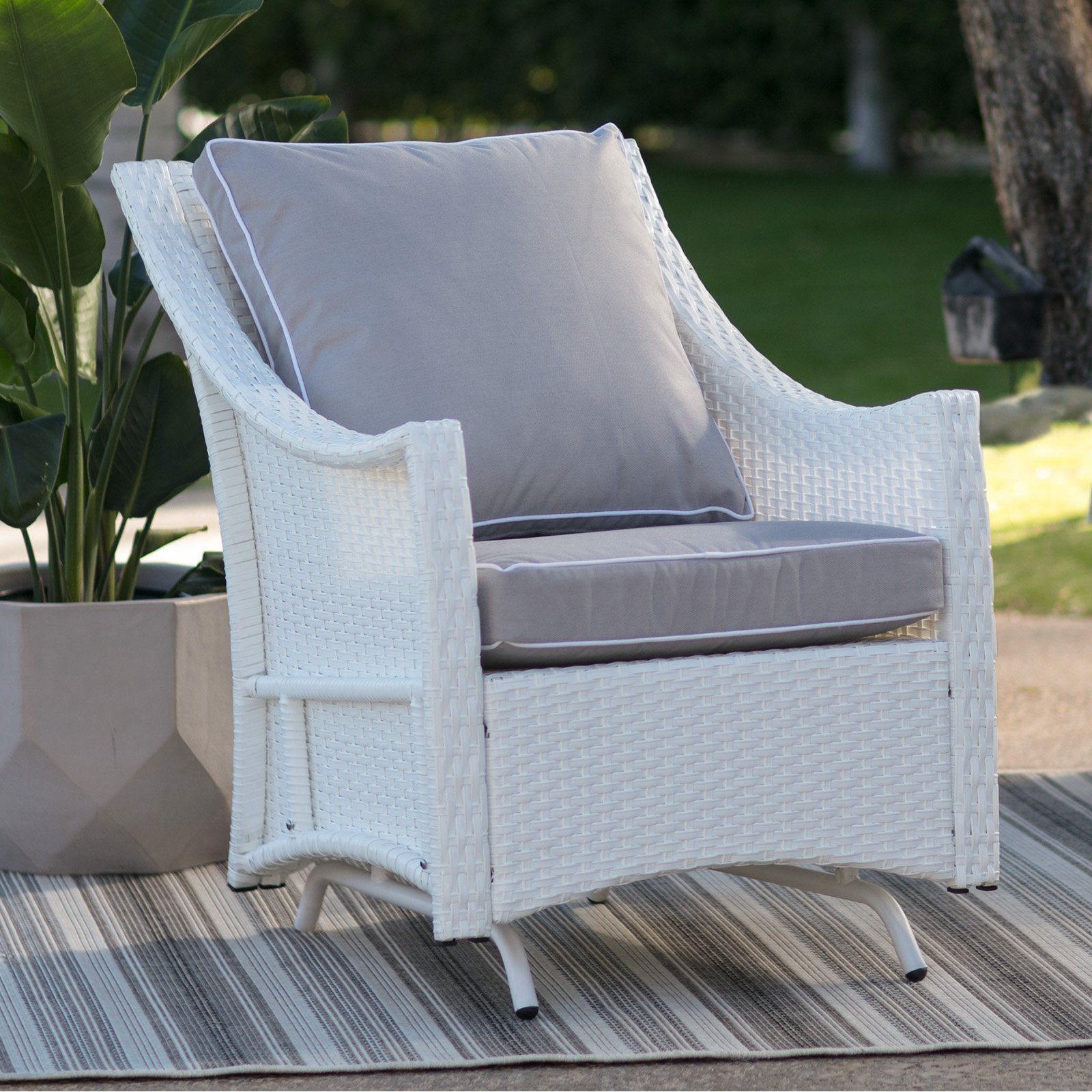 Belham Living Lindau All Weather Wicker Glider Chair With Cushion   White