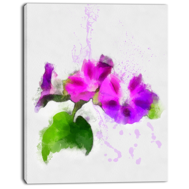 Stem of Convolvulus Flower Drawing - Floral Canvas Art Print - image 3 de 4